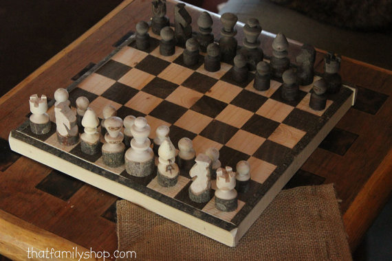 Rustic Log Chess Set