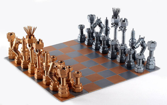 Metallic chess set